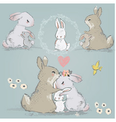 cute hares couple with children vector image
