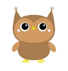 Cute owl toy icon big eyes cute cartoon kawaii vector