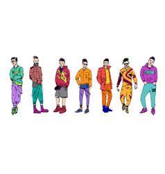 different fashion people set modern clothes vector image