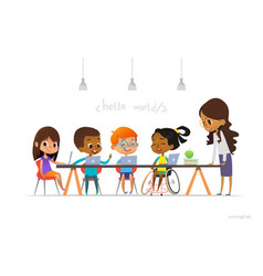 Disabled girl in wheelchair and other children vector