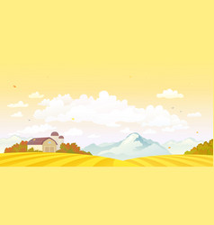 fall farm sunset vector image