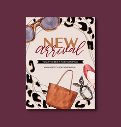 Fashion poster design with tote bag shoes vector