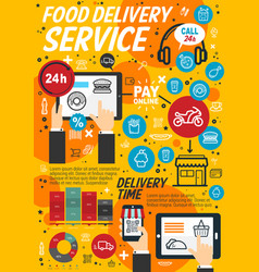 fastfood delivery service linear vector image
