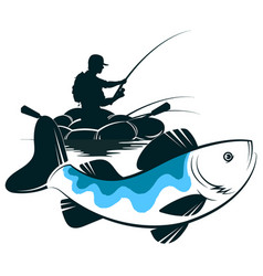 fisherman in a boat and catch fish vector image