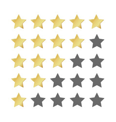 five gold stars rating 5 star realistic vector image