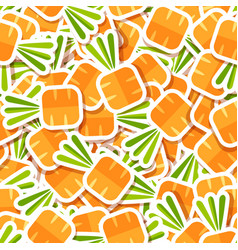 Flat carrot vegetable patch seamless pattern vector