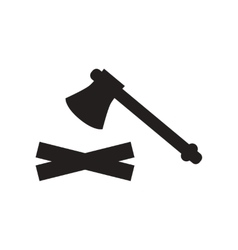 Flat icon in black and white style wood and an ax vector