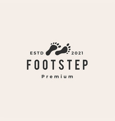 Foot step hipster vintage logo icon vector