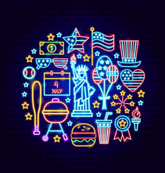 fourth july neon concept vector image