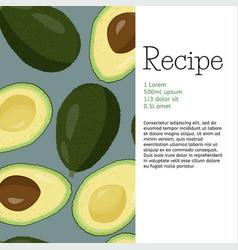 Fresh fruits recipe template avocado background vector