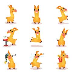 funny llama cartoon character set cute alpaca vector image