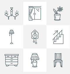 furniture icons line style set with flower pot vector image