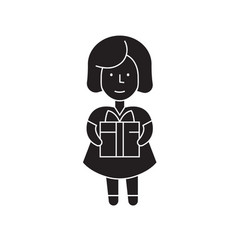 girl with a gift black concept icon girl vector image