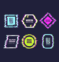 Glitch banners hipster poster distortion glitch vector
