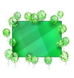 green background balloon with stars for greeting vector image