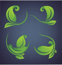 green leaves forms and frames vector image