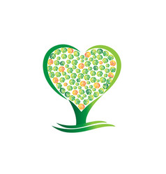 green tree heart abstract vector image