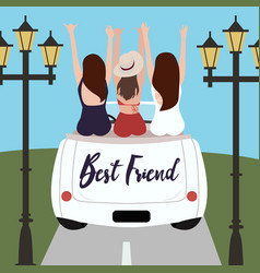 Group of best friends cheering on car road trip vector