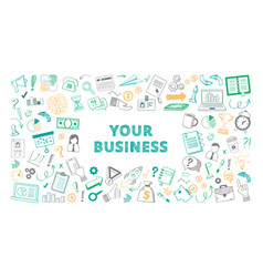 handdrawn your business sketch color set vector image