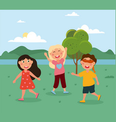 Happy cute little kids are playing hide and seek vector