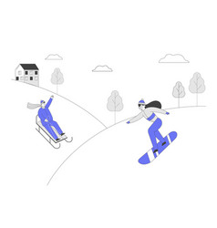 Happy people enjoying sledge and snowboard ride vector