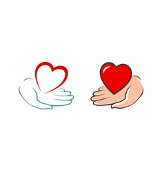 heart in hand logo charity assistance donation vector image