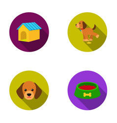 House booth bowl fooddog set collection icons vector