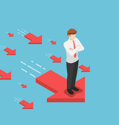 Isometric businessman standing on red arrow vector