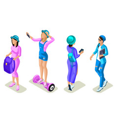 isometrics young people teenagers generation z vector image