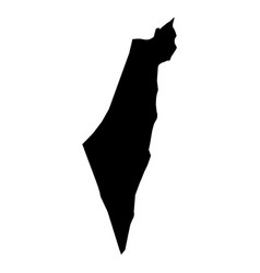 israel - solid black silhouette map of country vector image