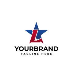 L letter logo font and the blue star design vector