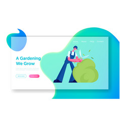 landscaping greenery and garden maintenance vector image