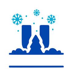 Letter u and winter composition monogram logo vector