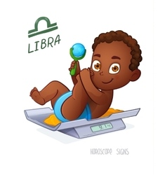 Libra zodiac sign baby boy lies on the scales and vector