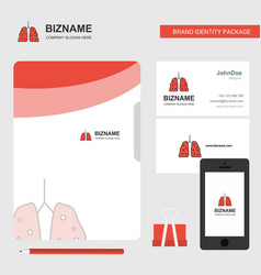 lungs business logo file cover visiting card and vector image