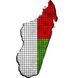 Madagascar map with flag inside vector