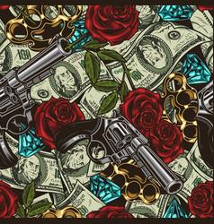 Mafia and money vintage seamless pattern vector