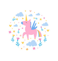 magic unicorn with clouds and flowers round vector image
