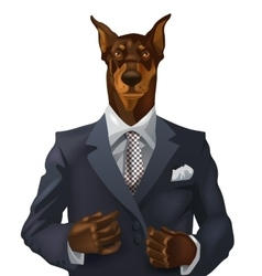 man with doberman head vector image