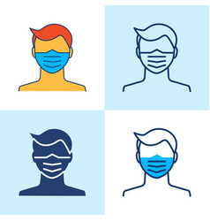 Medical face mask icon set in line style vector