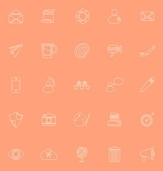 Message and email orange line icons vector image