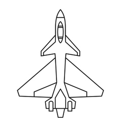 Military fighter jet icon outline style vector image