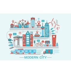Modern Modern smart city graphic flat line design vector image