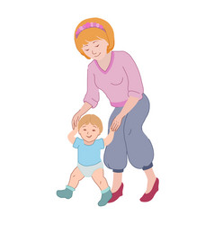 Motherday mom teaches a child to walk vector