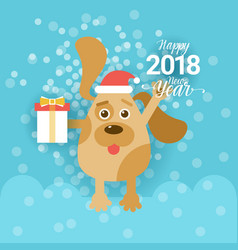 new year 2018 greeting card with dog holding vector image