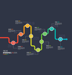 Nine steps timeline or milestone infographic chart vector