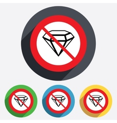 No Diamond sign icon Jewelry symbol Gem stone vector