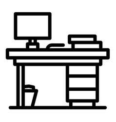 office table icon outline style vector image