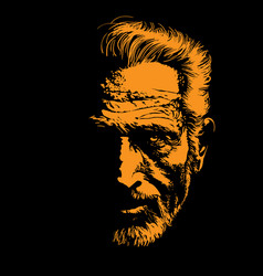 old man portrait silhouette in backlight vector image