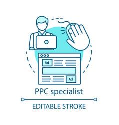 Ppc specialist blue concept icon digital vector